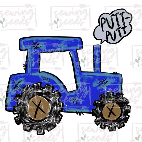 Blue Tractor with PUTT-PUTT PNG-Embroidery Boutique