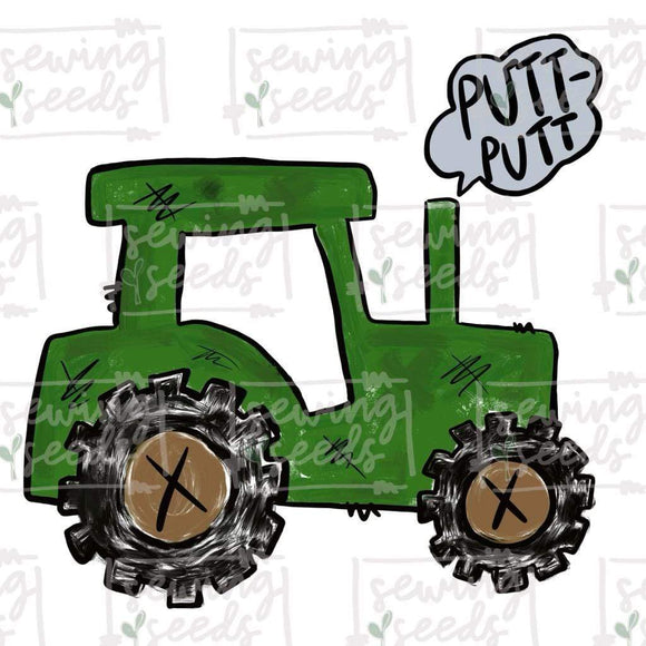 Green Tractor with PUTT-PUTT PNG-Embroidery Boutique