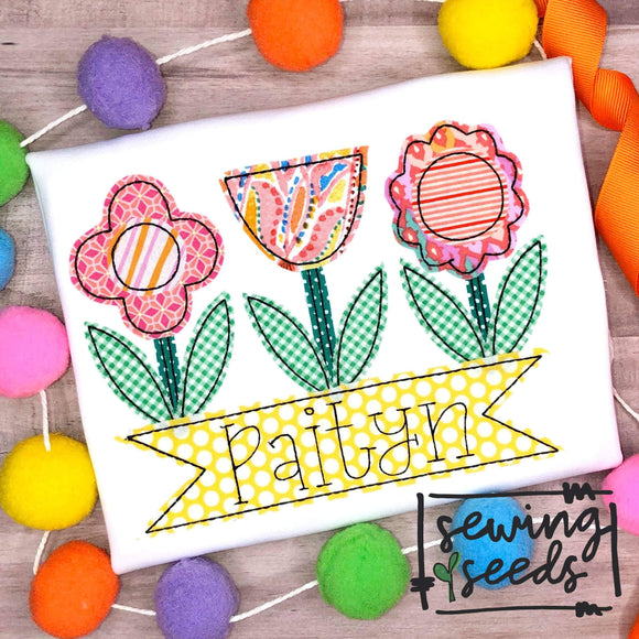 Flower Trio with Name Banner Applique SS - Sewing Seeds