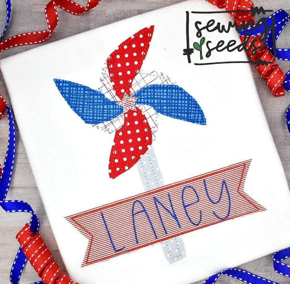 Patriotic Pin Wheel with Name Banner SS - Sewing Seeds