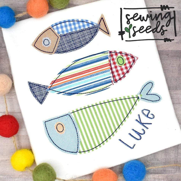 Fish Trio Applique SS - Sewing Seeds