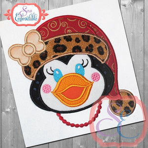 Santa Penguin Girl Applique - embroidery-boutique