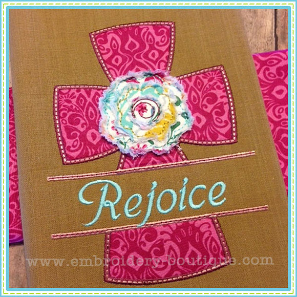 Split Cross Raggy Flower Applique, Applique