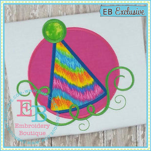 Swirl Party Hat Applique - embroidery-boutique