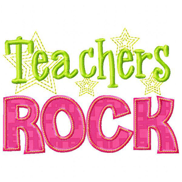 Teachers Rock Applique, Applique