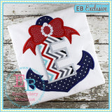 Anchors Away with Bow Applique Alphabet, Anchor