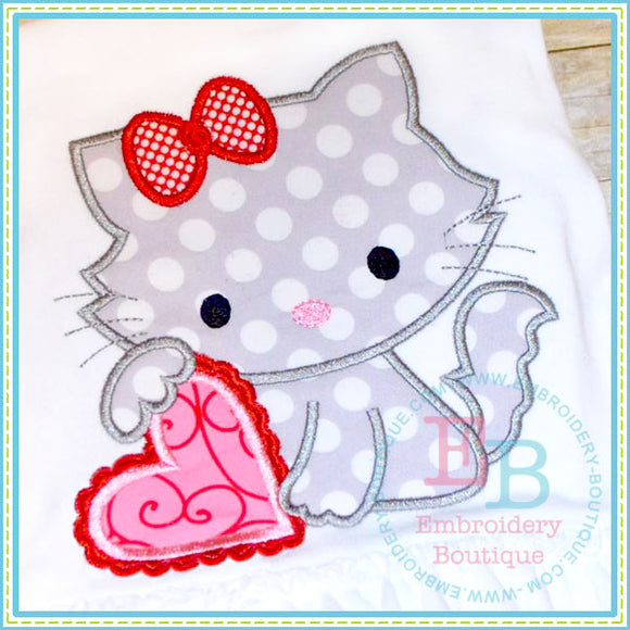 Kitty Heart Applique - embroidery-boutique