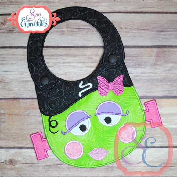 ITH Girl Frankenstein Baby Bib, In The Hoop Projects