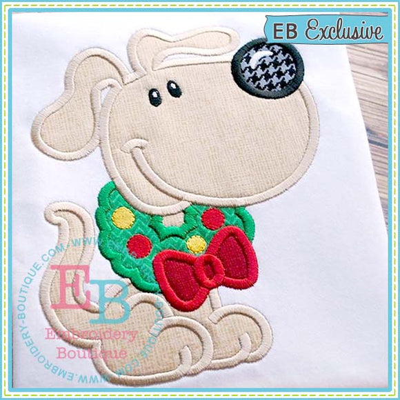 Wreath Dog Applique, Applique