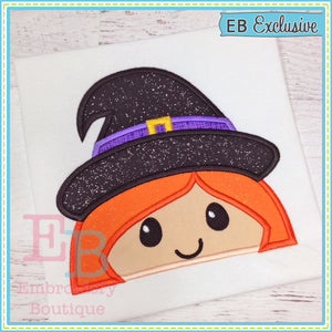 Witch Peeker Applique - embroidery-boutique
