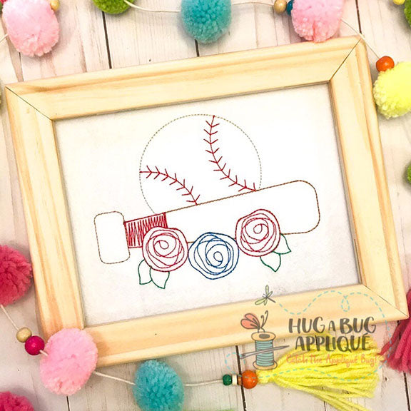 Ball Bat Flowers Bean Stitch Applique