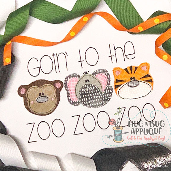 Zoo Trio 2 Bean Stitch Applique