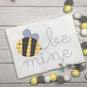 Be Mine Bee Bean Stitch Applique Design, Applique