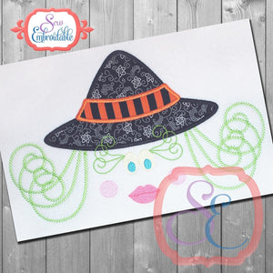 Witch Face Applique - embroidery-boutique