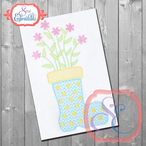 Motif Boot Vase Embroidery Design