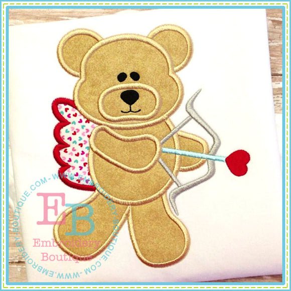 Cupid Bear Applique - embroidery-boutique