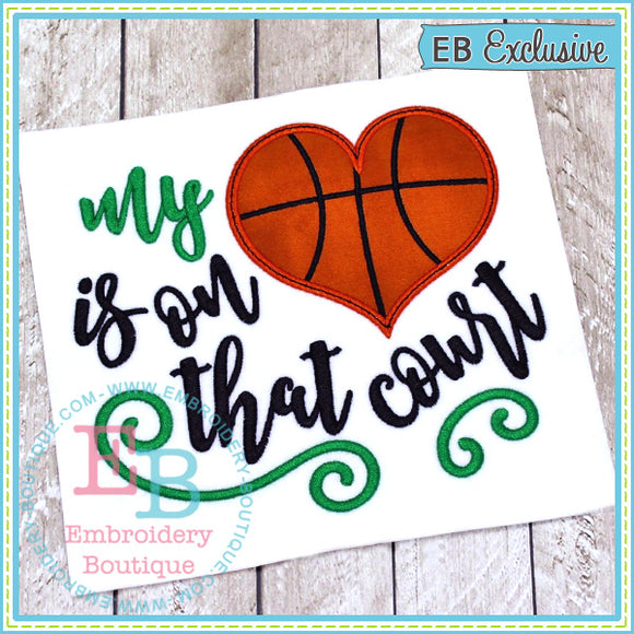 My Heart on Court Basketball Applique, Applique