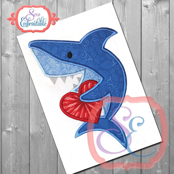 Valentine Shark Applique, Applique