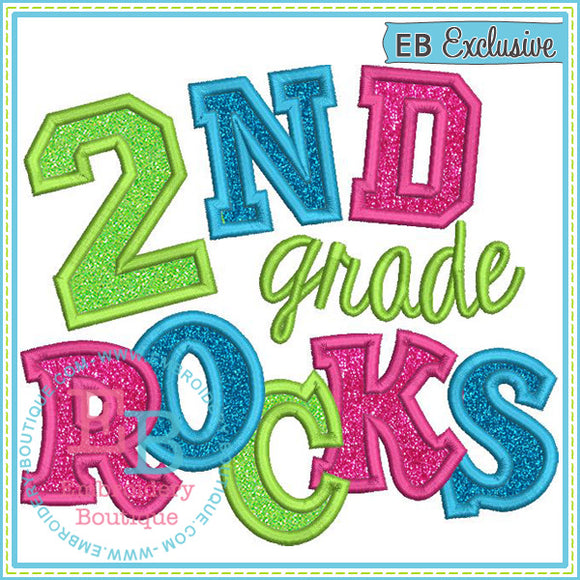 Second Grade Rocks 2 Applique - embroidery-boutique
