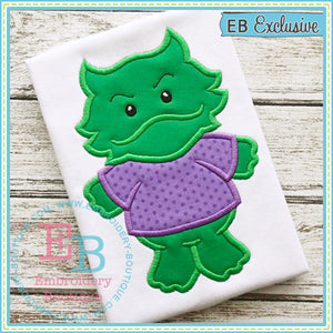 Boy Horned Frog Mascot Applique, Applique