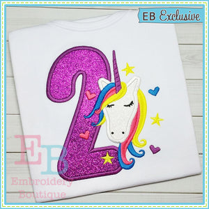 Unicorn Applique Numbers - embroidery-boutique