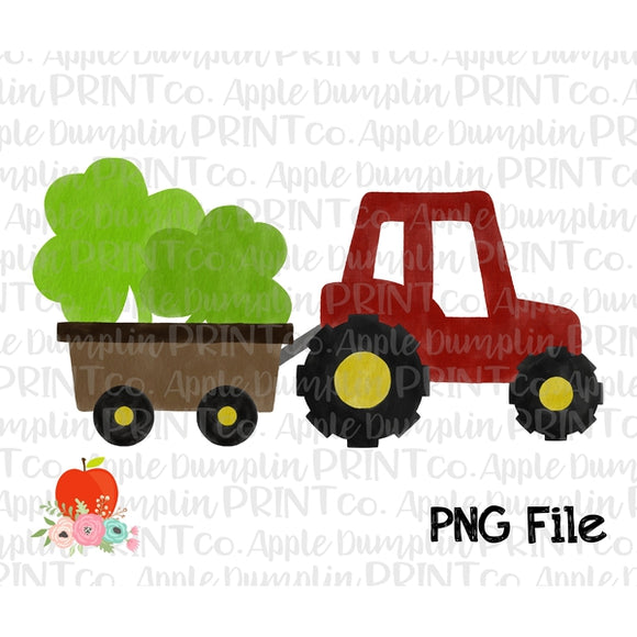 Shamrock Tractor Watercolor Printable Design PNG