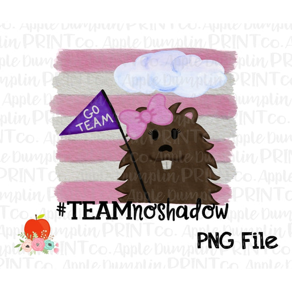 Groundhog Team No Shadow Girl Watercolor Printable Design PNG - embroidery-boutique