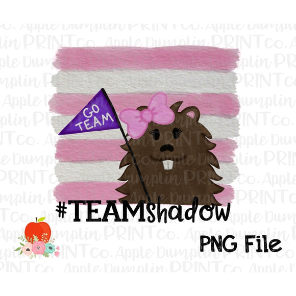 Groundhog Team Shadow Girl Watercolor Printable Design PNG