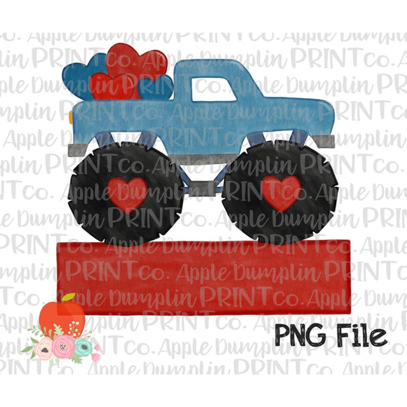 Blue Monster Truck with Hearts Banner Watercolor Printable Design PNG