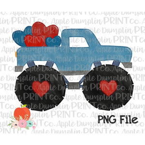 Blue Monster Truck with Hearts Watercolor Printable Design PNG