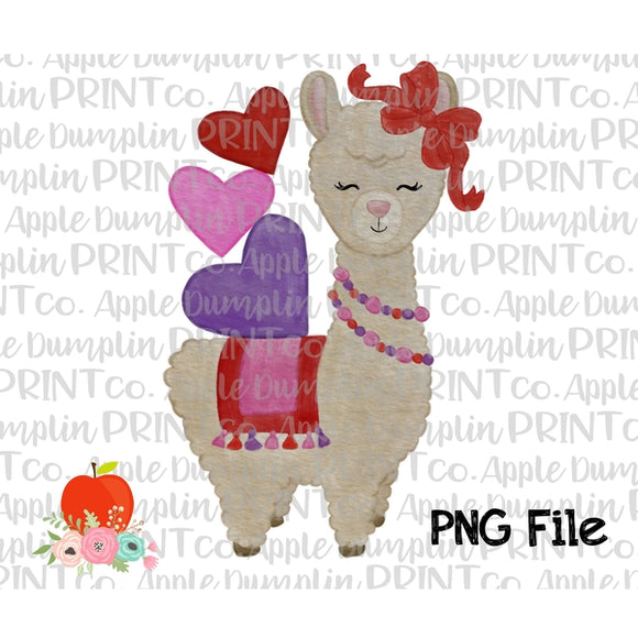 Valentine Llama Watercolor Printable Design PNG