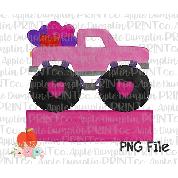 Pink Monster Truck with Hearts Banner Watercolor Printable Design PNG