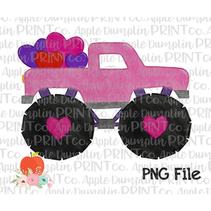 Pink Monster Truck with Hearts Watercolor Printable Design PNG