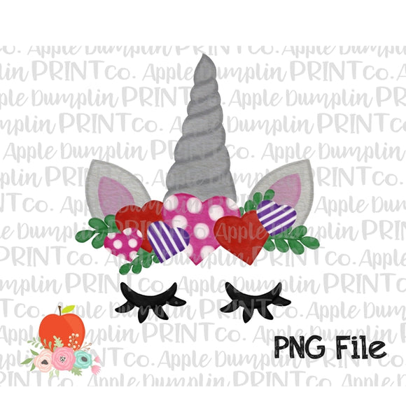 Valentine Unicorn Printed Hearts Silver Watercolor Printable Design PNG