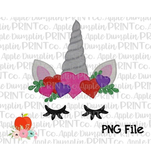 Valentine Unicorn Silver Watercolor Printable Design PNG - embroidery-boutique