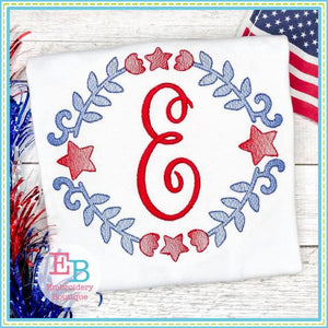 American Star Wreath Sketch Design - embroidery-boutique