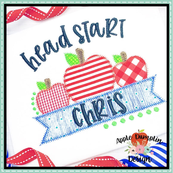 Head Start Apple Banner Zigzag Applique Design