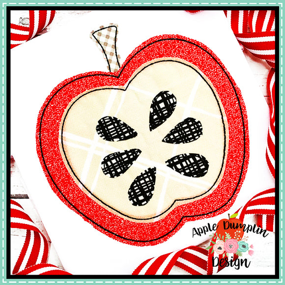 Apple Bean Stitch Applique Design, Applique