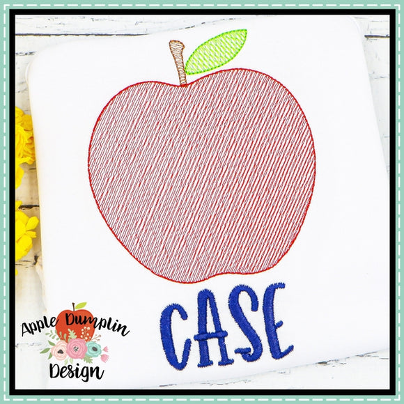 Apple Sketch Embroidery Design