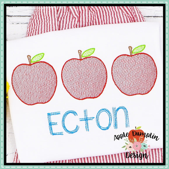 Apple Trio Sketch Embroidery Design, applique