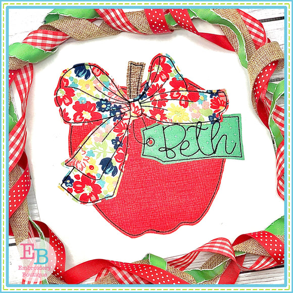 Apple Big Bow Bean Applique, Applique