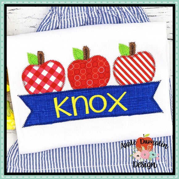 3 Apples with Banner Zigzag Applique Design