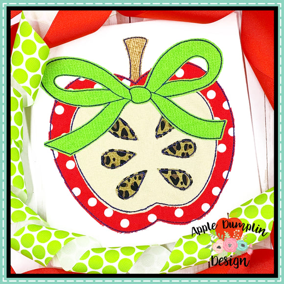 Apple with Bow Bean Stitch Applique Design