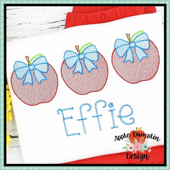 Apple with Bow Trio Sketch Embroidery Design