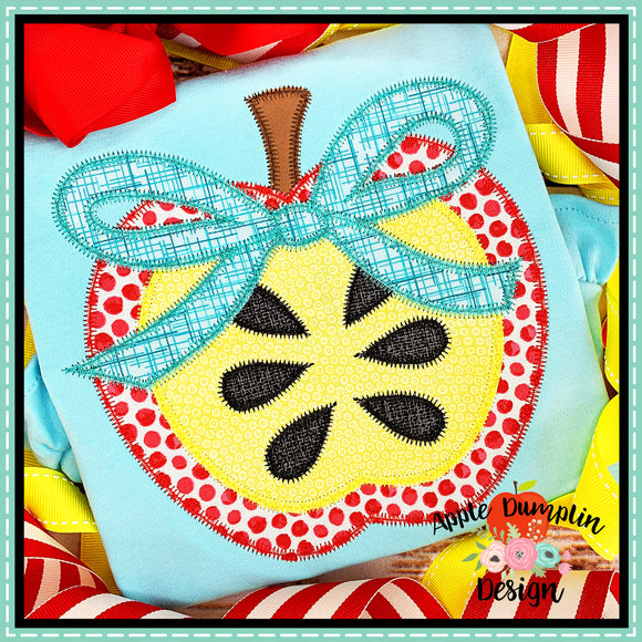 Apple with Bow Zigzag Applique Design, Applique