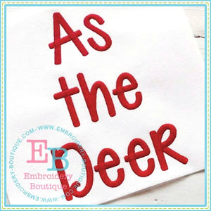 As The Deer Embroidery Font-Embroidery Boutique