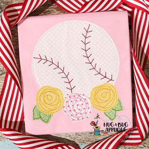 Baseball Flowers Bean Stitch Applique-Embroidery Boutique