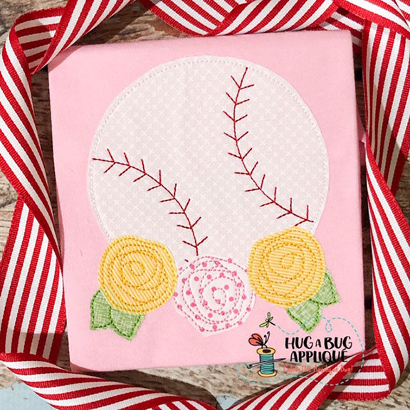 Baseball Flowers Bean Stitch Applique
