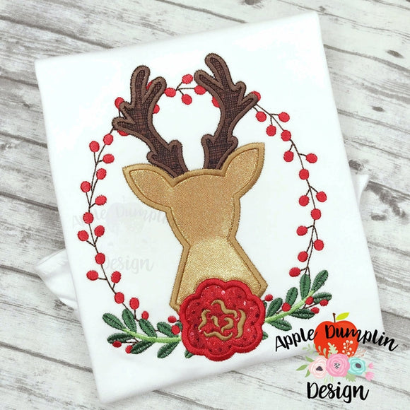 Berry Wreath With Deer Applique Design - embroidery-boutique