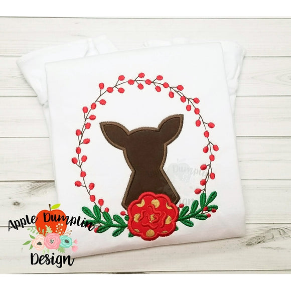 Berry Wreath with Doe Applique Design - embroidery-boutique